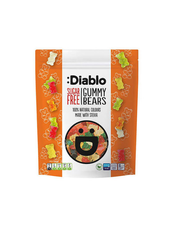 Diablo sugar free fruit gummy bears in a plastic bag 75g