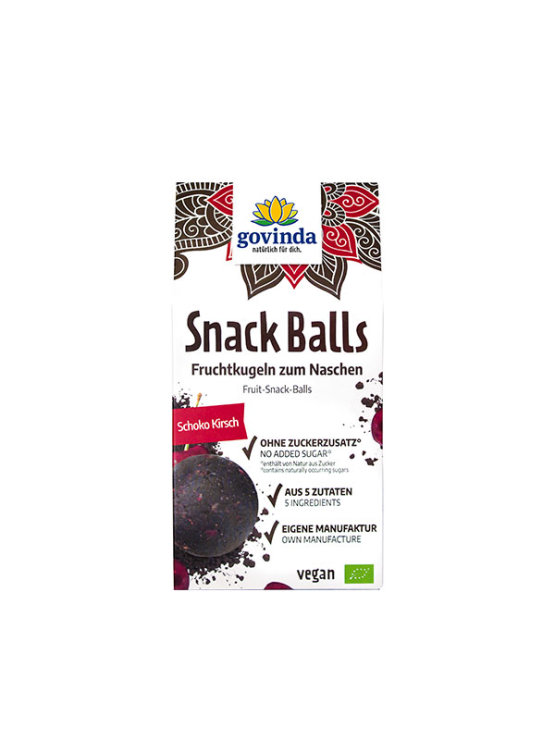 Govinda organic chocolate and cherry snack balls in a cardboard packaging of 100g