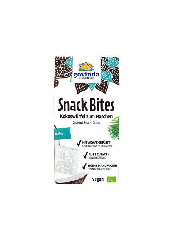 Govinda organic coconut snack bites in a cardboard packaging of 100g