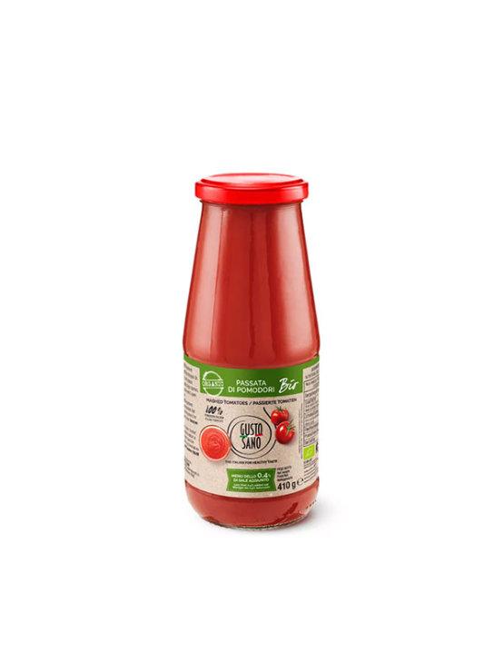 Gusto Sano organic tomato passata in a glass packaging of 410g