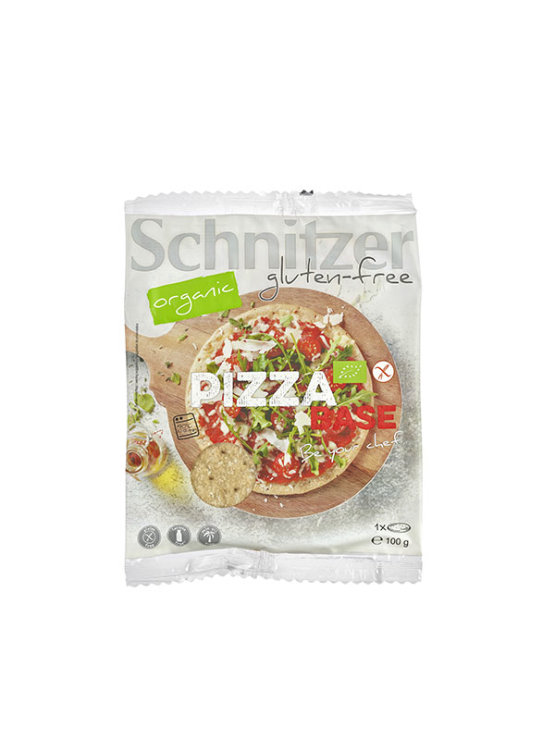 Schnitzer organic and gluten free pizza base in a packaging of 100g