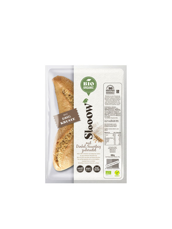 Slooow organic spelt sandwich rolls in a packaging of 300g. Pack of four.
