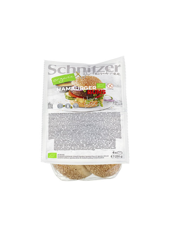 Schnitzer organic hamburger gluten free buns in a 250g packaging