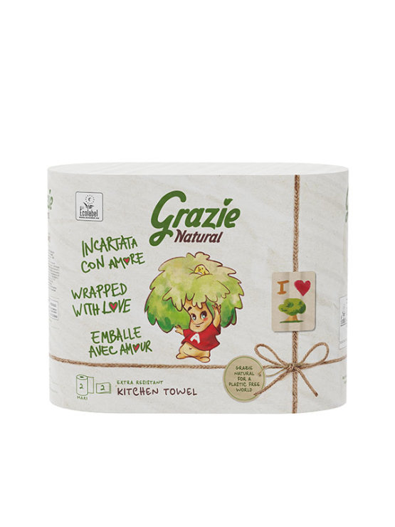 Grazie Natural 2ply recycled kitchen towel - twin pack