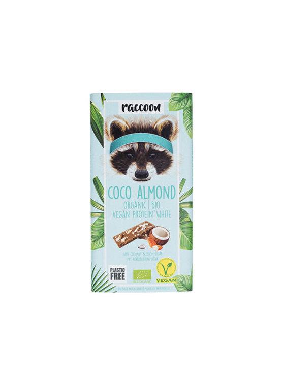 Organska Raccoon veganska proteinska čokolada kokos i badem u ambalaži od 40g