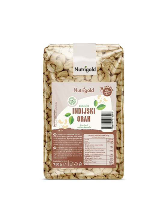 Nutrigold raw cashew nut pieces packed in transparent bag of 750g