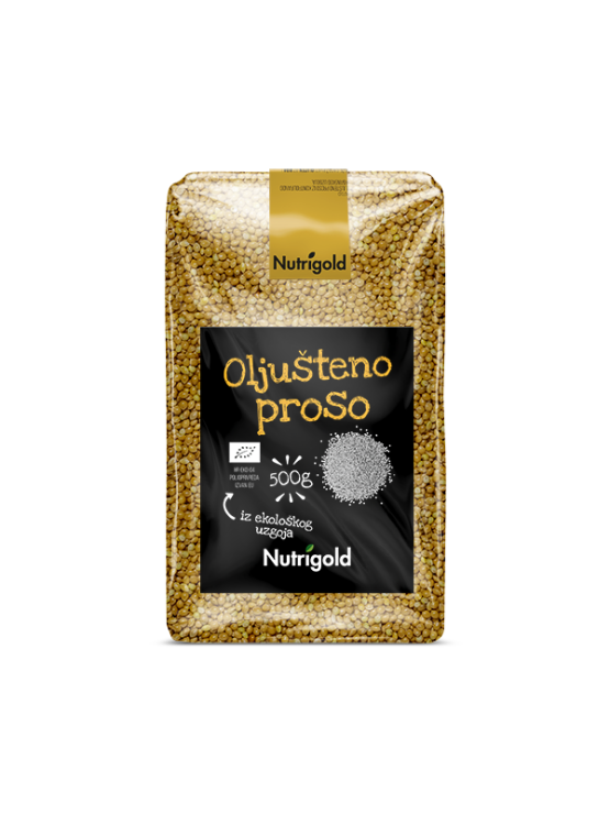 Nutrigold organic hulled millet in a transparent 500g packaging.
