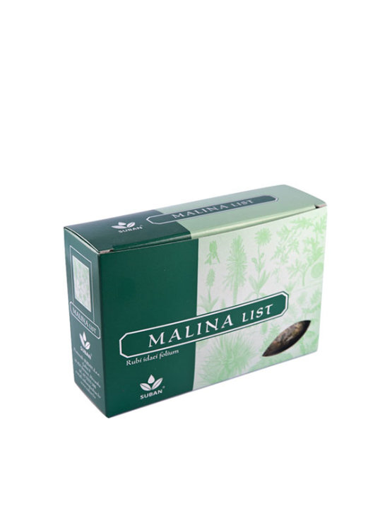 Suban raspberry leaf tea in a green cardboard packaging of 40g