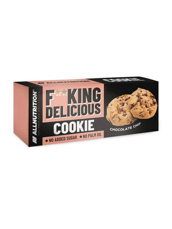 Chocolate chip cookies with no added sugar in a cardboard packaging of 135g