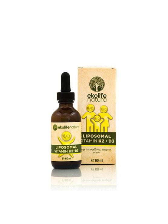 Ekolife Natura liposomal vitamin K2+D3 in a 60ml bottle with a dropper