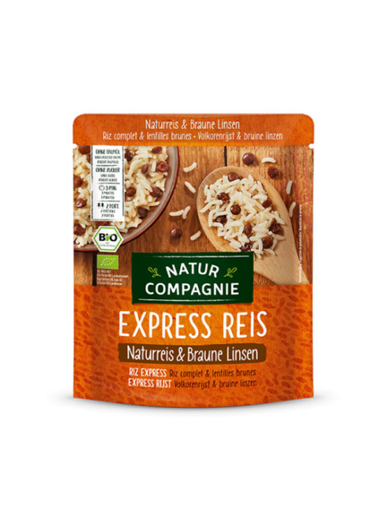 Natur Compagnie organic express brown lentils and whole grain rice in a 250g bag packaging