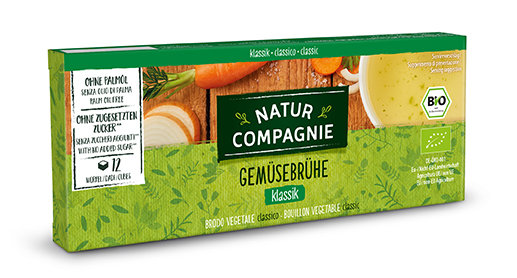 Organic Natur Compagnie vegetable broth in a cardboard packaging containing 12 cubes