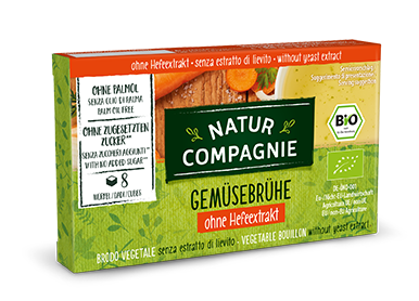 Organic Natur Compagnie vegetable broth in a cardboard packaging containing 8 cubes
