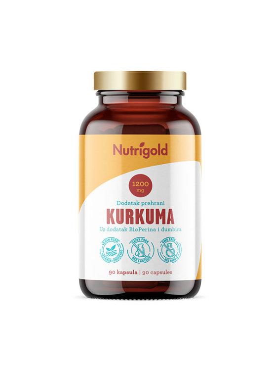 Nutrigold veganske kurkuma kapsule s dodatkom đumbira i bioperina u staklenoj ambalaži od 90 kapsula