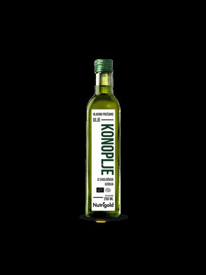 Organsko hladno prešano Nutrigold ulje konoplje u staklenoj ambalaži od 250 mililitara