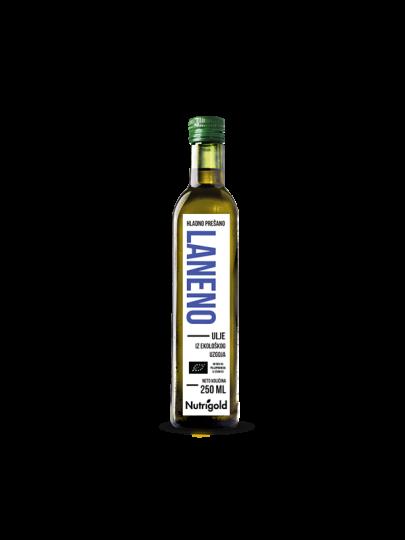 Nutrigold organsko laneno ulje u staklenoj ambalaži od 250 ml.