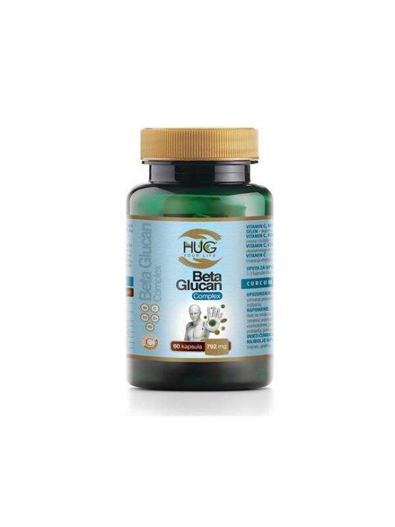 Hug Your Life Beta Glucan premium & C3 Complex 60 capsules in dark plastic packaging
