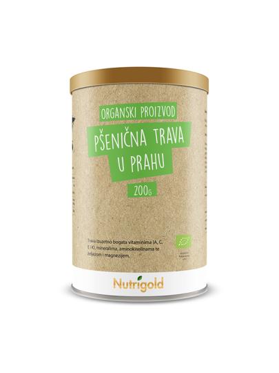 Organska Nutrigold pšenična trava u prahu u smeđoj posudi od 200 grama