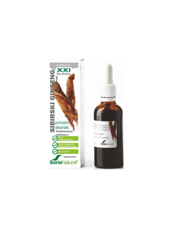 Soria Natural Siberian Ginseng drops in a 50ml glass bottle with a dropper