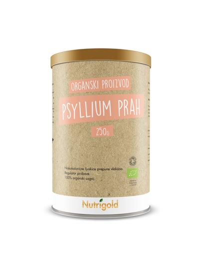 Organski Nutrigold psyllium prah u smeđoj posudi od 250 grama