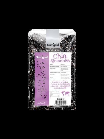 Chia sjemenke Nutrigold u prozirnoj ambalaži od 1000 grama
