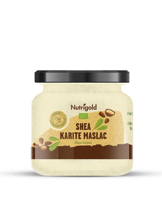 Nutrigold hladno prešani karite shea maslac iz organksog uzgoja u staklenci od 250 grama.