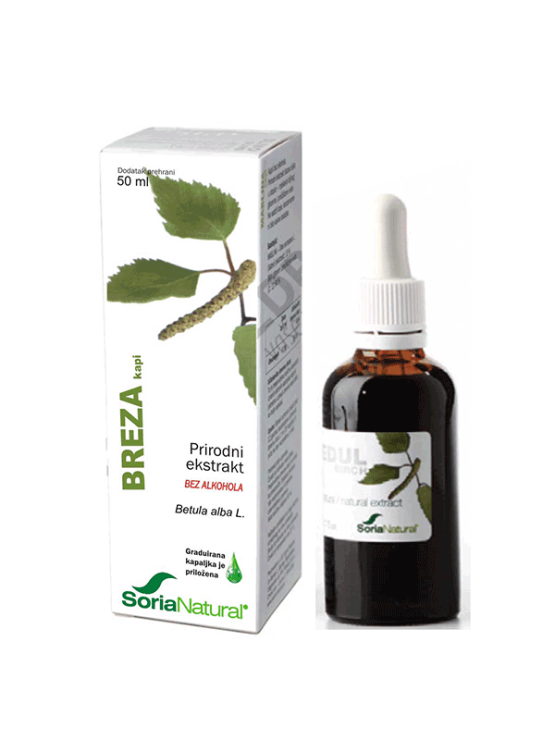 Soria Natural birch drops in a 50ml glass bottle with a dropper